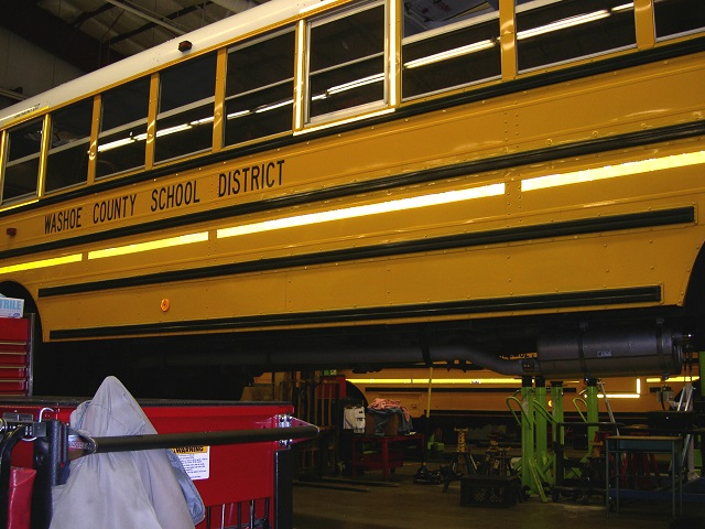 A Diesel Oxidation Catalyst System has replaced the muffler on this Washoe County school bus's exhaust system.