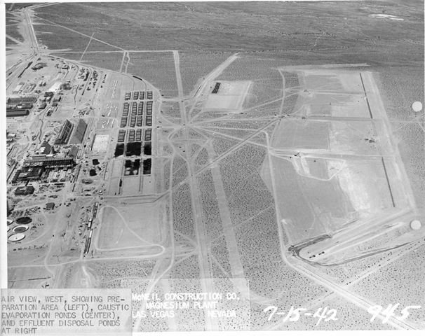 7/15/1942 - Air view, west, showing preparation area (left), caustic evaporation ponds (center) and effluent disposal ponds at right.