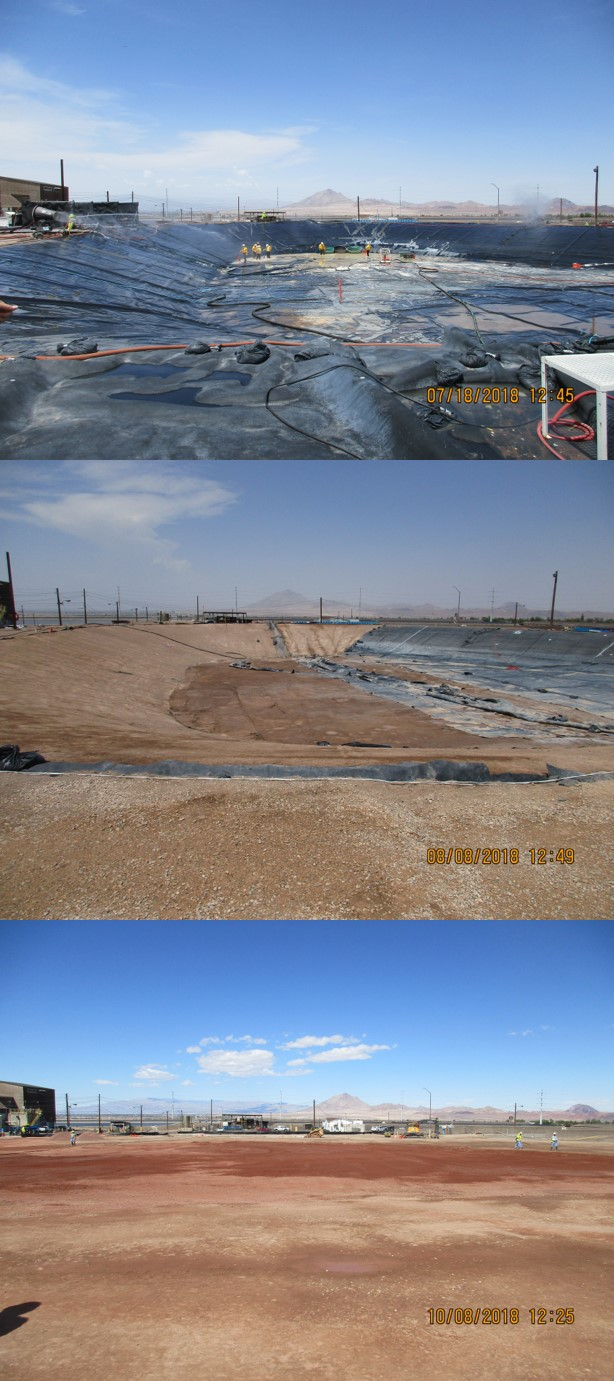 Closure of the AP-5 pond included several steps. The top photo shows removal of residual liquids from the AP-5 pond. The middle photo shows the AP-5 pond with more than 50% of its primary liner removed. The bottom photo shows the former location of the AP-5 pond after backfilling.