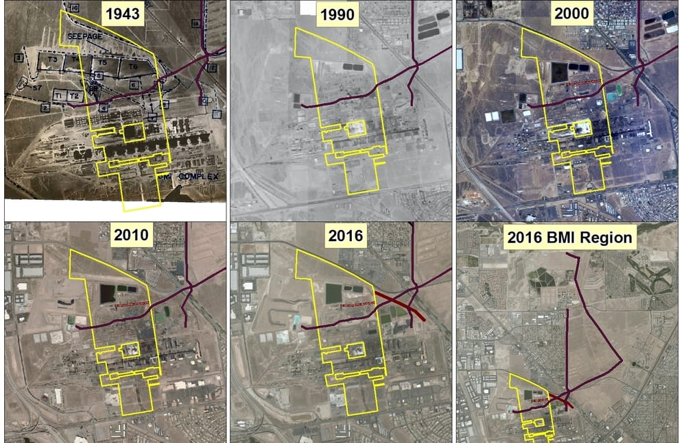 Aerial view of the NERT property through the years (1943, 1990, 2000, 2010, 2016).