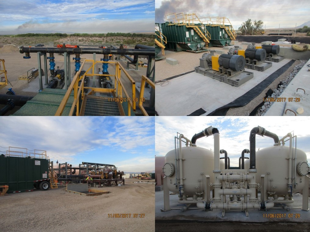 Upper Left: Header pipework above transfer pumps to transfer liquid to the Central Treatment Plant. Upper Right: Three transfer station pumps capable of pumping 6,900 gpm (combined). Lower Left: Hydro cyclone in brown tones in the foreground, multimedia filters in tan tones in background. Lower Right: Ion Exchange vessels.