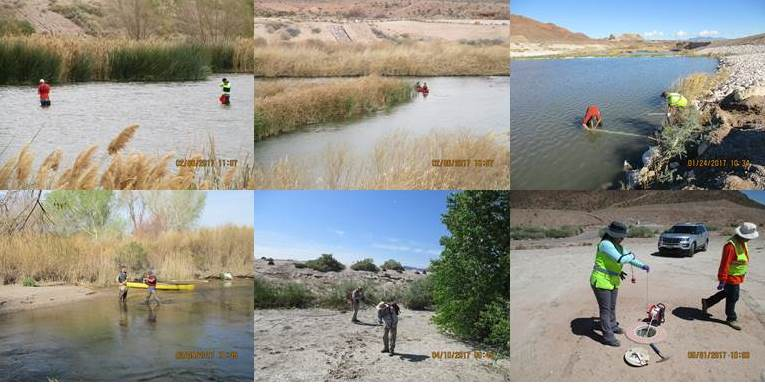 Upper Left: February 2017 AECOM field team sampling Las Vegas Wash.  Upper Middle: February 2017 AECOM field team canoeing to sample location in Las Vegas Wash.  Upper Right: January 2017 AECOM field team with stream gauging station.  Lower Left:  February 2017 AECOM field team measuring water quality parameters in Las Vegas Wash.  Lower Middle: February 2017 AECOM biologists during biological survey.  Lower Right: May 2017 AECOM field team installing transducer inside flush mount groundwater well.
